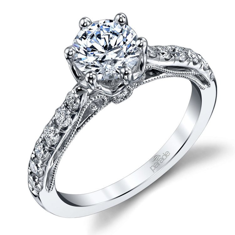 Six-Prong Tapered Cathedral Diamond Engagement Ring in White Gold by Parade | 01