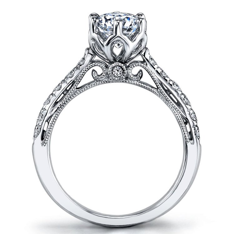 Six-Prong Tapered Cathedral Diamond Engagement Ring in White Gold by Parade | 02