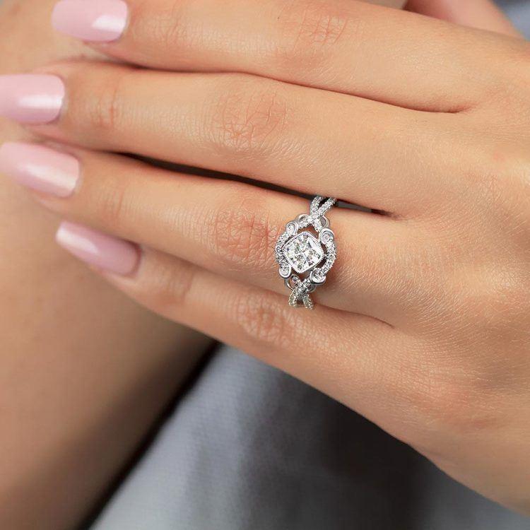 Split Shank Bezel Diamond Engagement Ring in White Gold by Parade | 02