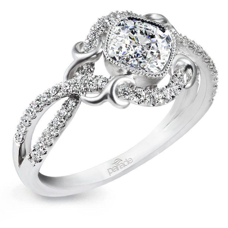 Split Shank Bezel Diamond Engagement Ring in White Gold by Parade | 01
