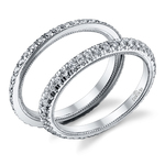 Stacking Scallop Diamond Eternity Ring Set in White Gold by Parade | Thumbnail 01