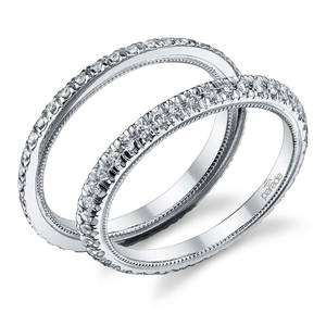 Stacking Scallop Diamond Eternity Ring Set in White Gold by Parade