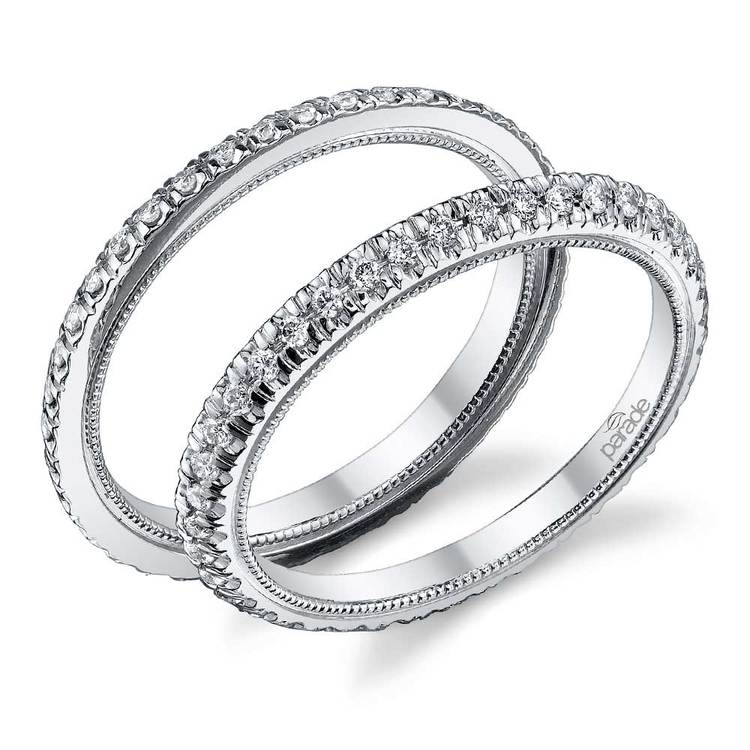 Stacking Scallop Diamond Eternity Ring Set in White Gold by Parade   01