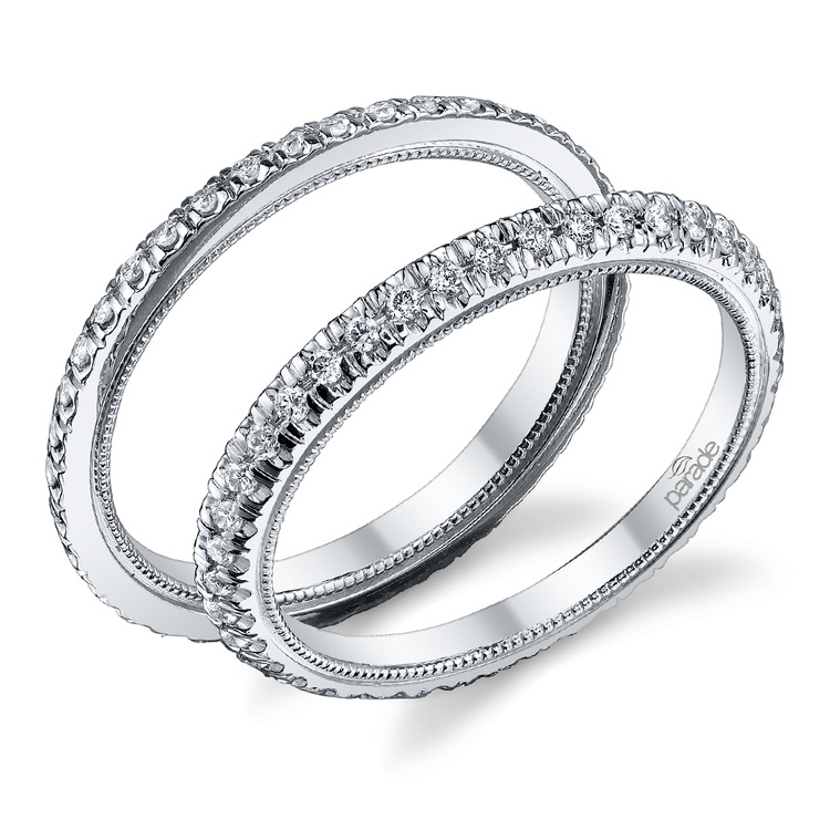 Stacking Scallop Diamond Eternity Ring Set in White Gold by Parade | 01