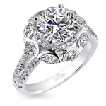 Statement Double Halo Split Shank Diamond Engagement Ring in White Gold by Parade | Thumbnail 01