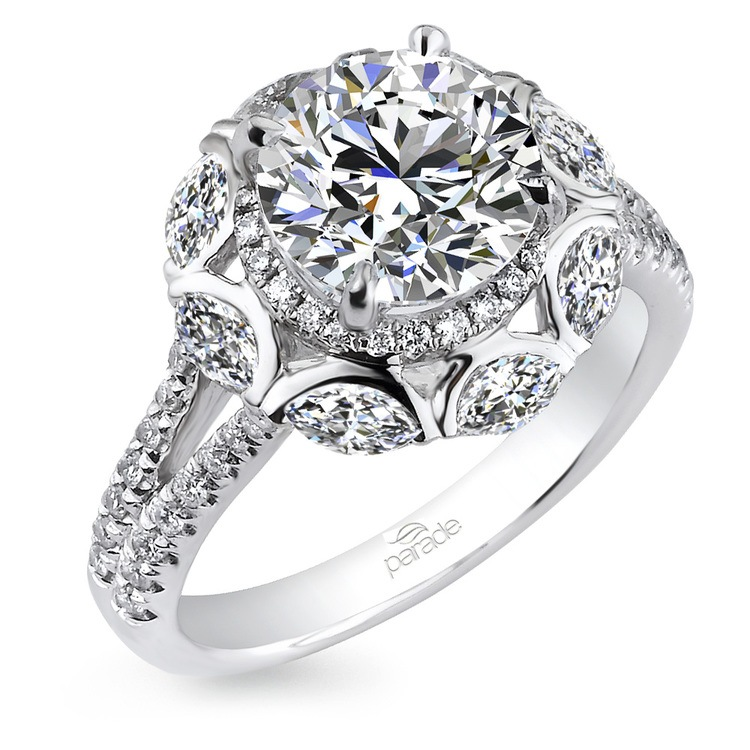 Statement Double Halo Split Shank Diamond Engagement Ring in White Gold by Parade | 01