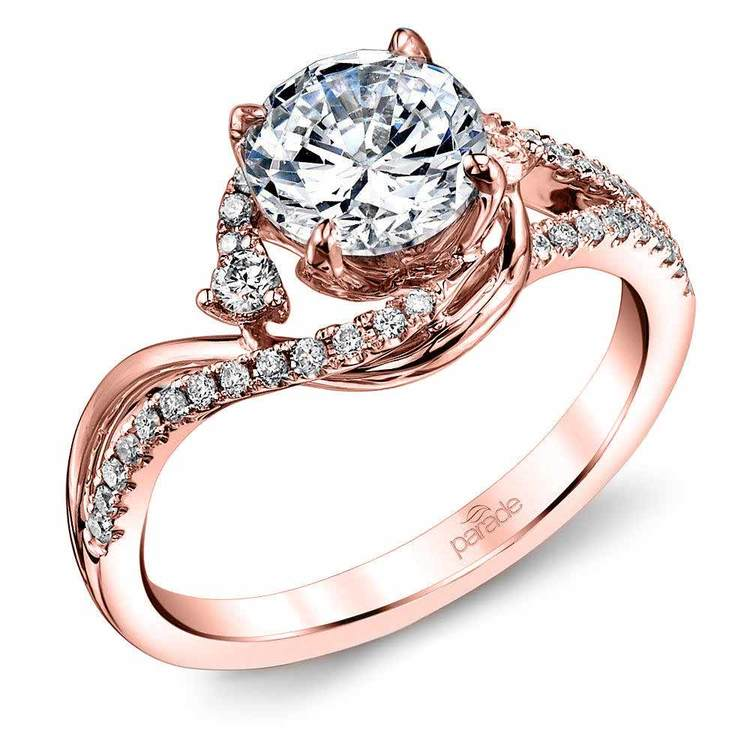 Swirling Split Shank Diamond Engagement Ring in Rose Gold by Parade | 01