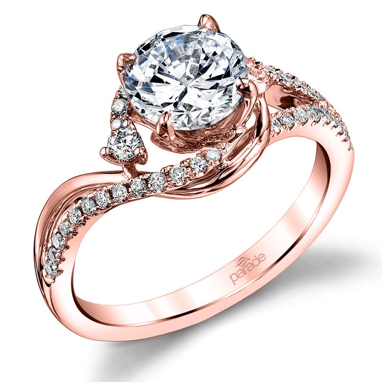 Swirling Split Shank Diamond Engagement Ring in Rose Gold by Parade   01