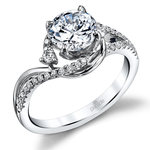 Swirling Split Shank Diamond Engagement Ring in White Gold by Parade | Thumbnail 01
