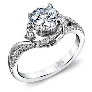 Swirling Split Shank Diamond Engagement Ring in White Gold by Parade