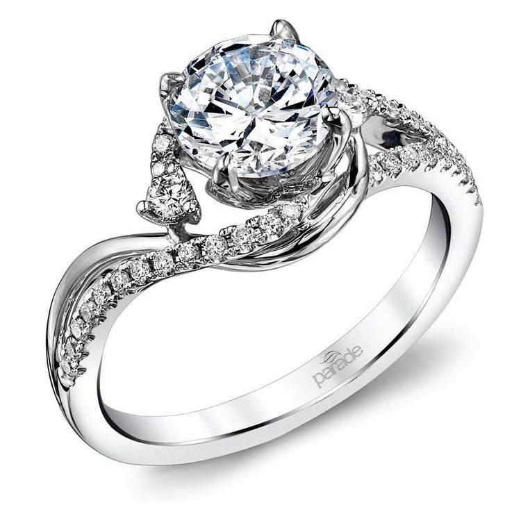 Swirling Split Shank Diamond Engagement Ring in White Gold by Parade | 01