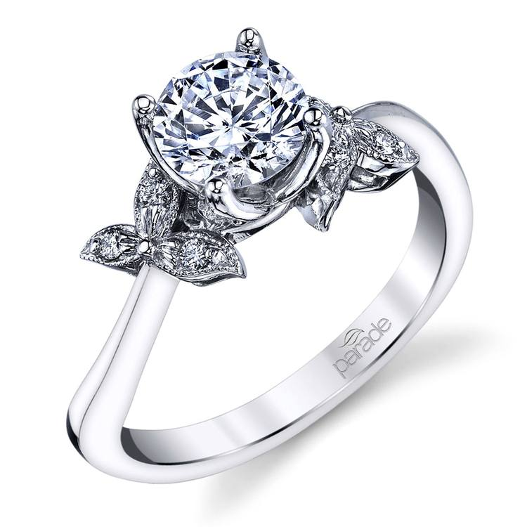 Three-Leafed Bypass Diamond Engagement Ring in Platinum by Parade | 01