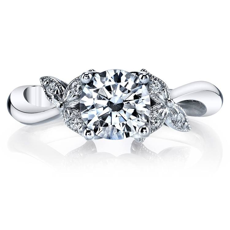 Three-Leafed Bypass Diamond Engagement Ring in Platinum by Parade | 02