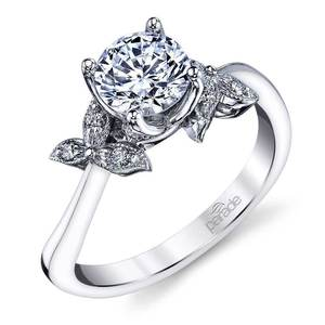 Three-Leafed Bypass Diamond Engagement Ring in White Gold by Parade