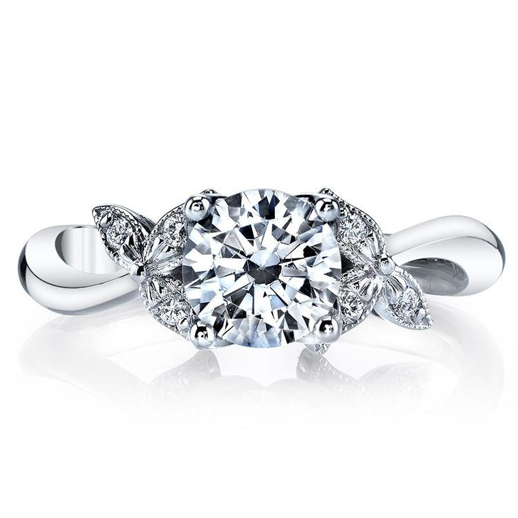 Three-Leafed Bypass Diamond Engagement Ring in White Gold by Parade | 02