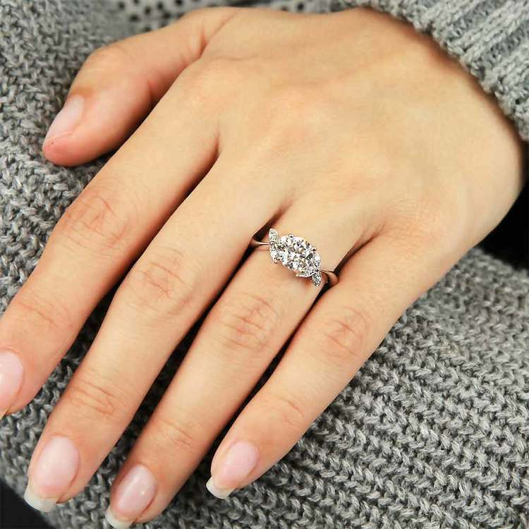 Three-Leafed Bypass Diamond Engagement Ring in White Gold by Parade | 03