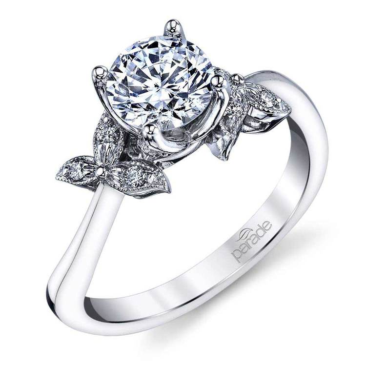 Three-Leafed Bypass Diamond Engagement Ring in White Gold by Parade | 01