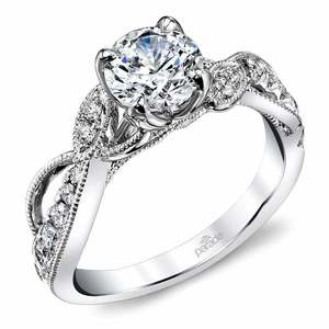 Vine & Ribbon Diamond Engagement Ring with Lyria Crown in Platinum by Parade