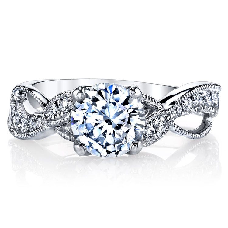 Vine & Ribbon Diamond Engagement Ring with Lyria Crown in Platinum by Parade | 02