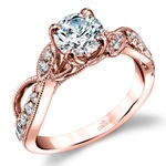 Vine & Ribbon Diamond Engagement Ring with Lyria Crown in Rose Gold by Parade | Thumbnail 01