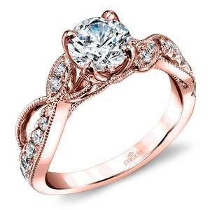 Vine & Ribbon Diamond Engagement Ring with Lyria Crown in Rose Gold by Parade