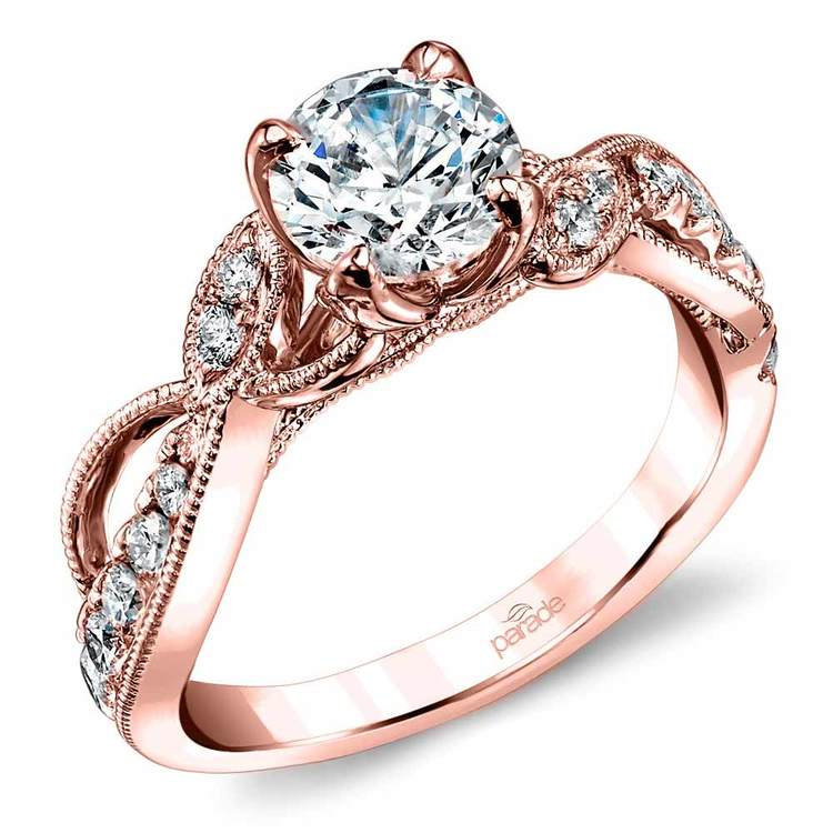 Rose Gold Vine Diamond Engagement Ring by Parade - Lyria Crown | 01