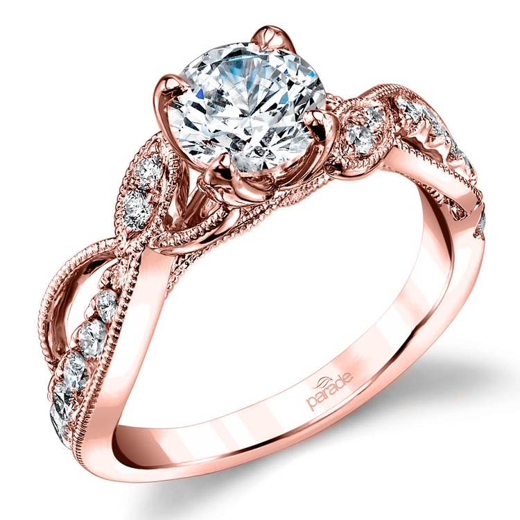 Vine & Ribbon Diamond Engagement Ring with Lyria Crown in Rose Gold by Parade | 01