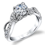 Vine & Ribbon Diamond Engagement Ring with Lyria Crown in White Gold by Parade | Thumbnail 01