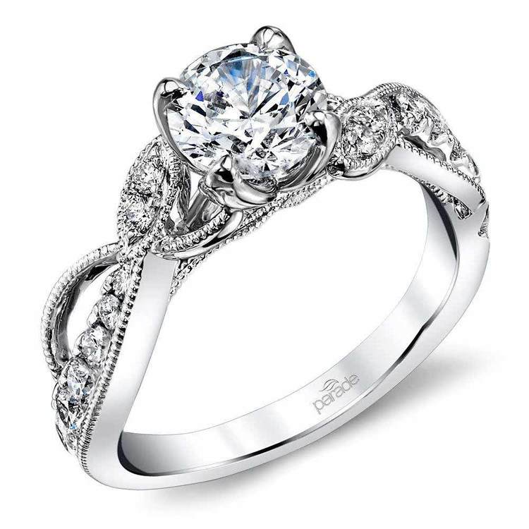 Vine & Ribbon Diamond Engagement Ring with Lyria Crown in White Gold by Parade   01