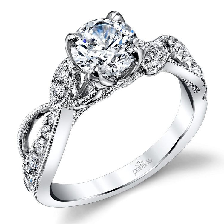 Vine & Ribbon Diamond Engagement Ring with Lyria Crown in White Gold by Parade | 01