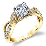 Vine & Ribbon Diamond Engagement Ring with Lyria Crown in Yellow Gold by Parade | Thumbnail 01