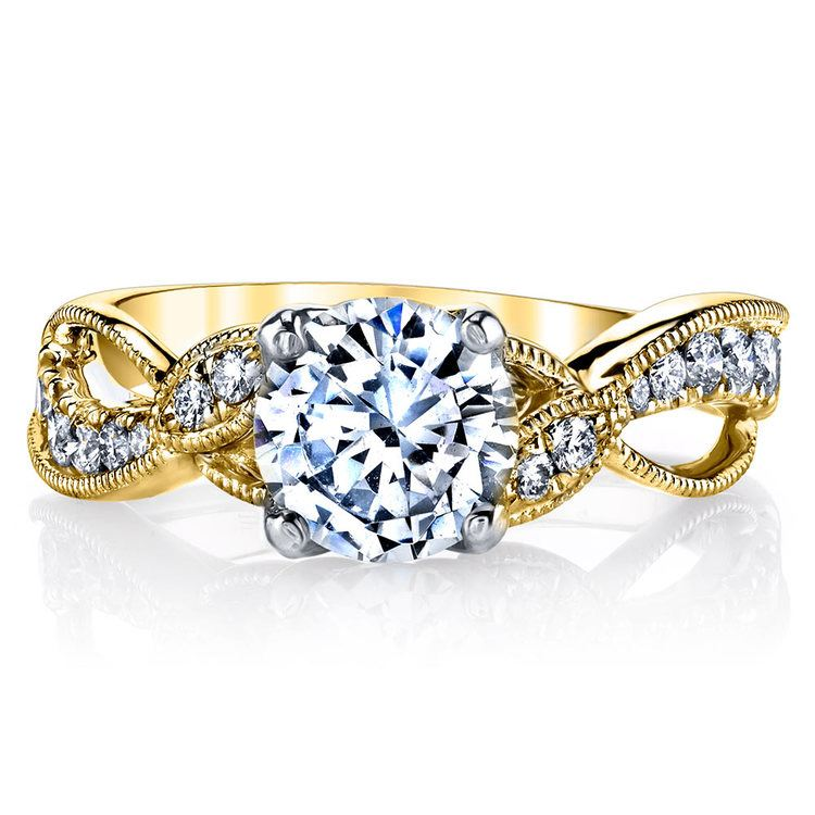 Vine & Ribbon Diamond Engagement Ring with Lyria Crown in Yellow Gold by Parade | 02