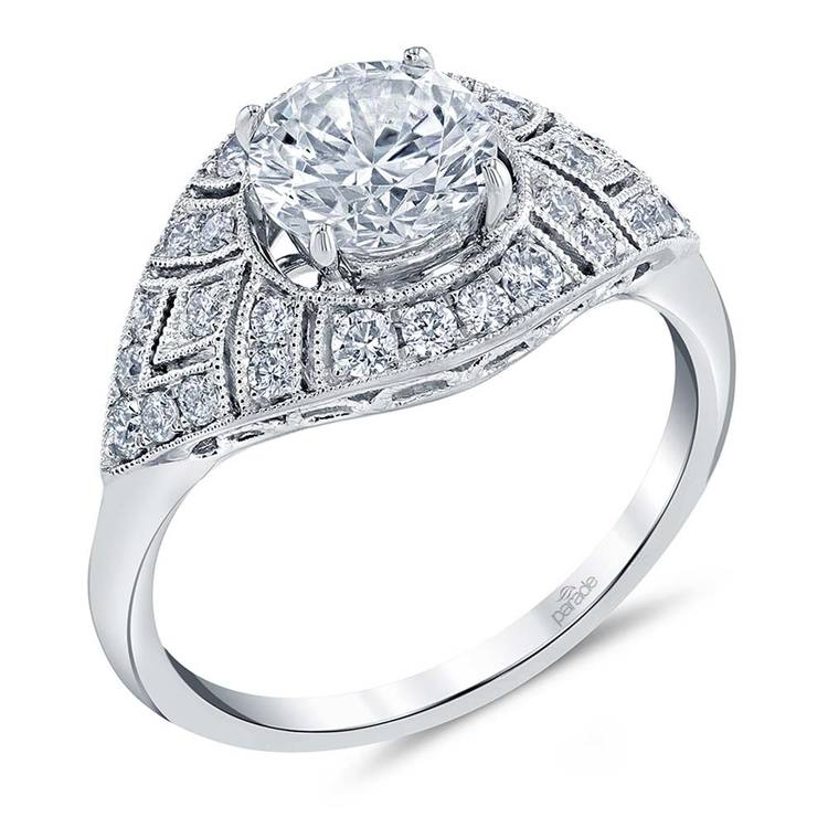 Vintage Inspired Art Deco Design Diamond Ring in White Gold by Parade | 01