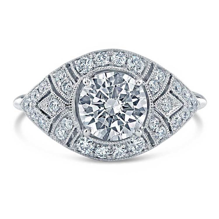 Vintage Inspired Art Deco Design Diamond Ring in White Gold by Parade | 02
