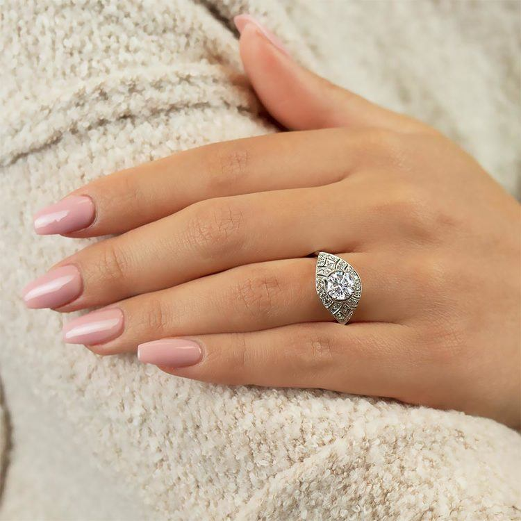 Vintage Inspired Art Deco Design Diamond Ring in White Gold by Parade | 03