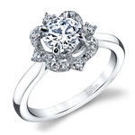 Vintage Artistic Halo Diamond Engagement Ring in White Gold by Parade | Thumbnail 01