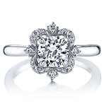 Vintage Artistic Halo Diamond Engagement Ring in White Gold by Parade | Thumbnail 02