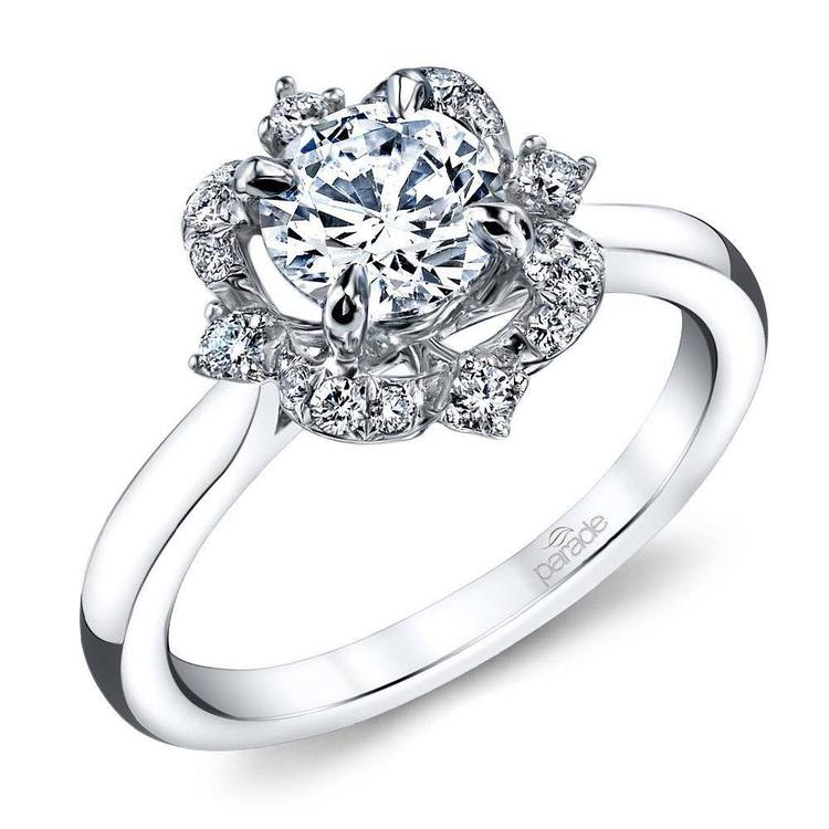 Vintage Artistic Halo Diamond Engagement Ring in White Gold by Parade | 01