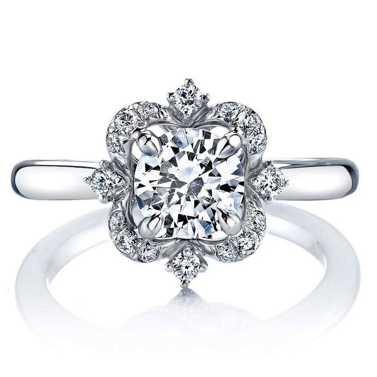 Vintage Artistic Halo Diamond Engagement Ring in White Gold by Parade | 02