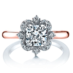 Vintage Artistic Halo Diamond Engagement Ring in White and Rose Gold by Parade   Thumbnail 02
