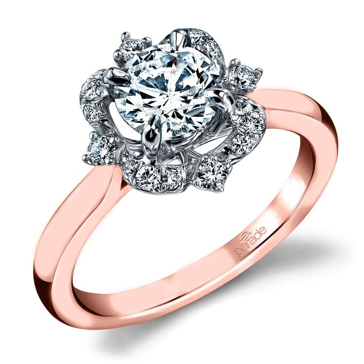 Vintage Artistic Halo Diamond Engagement Ring in White and Rose Gold by Parade   01