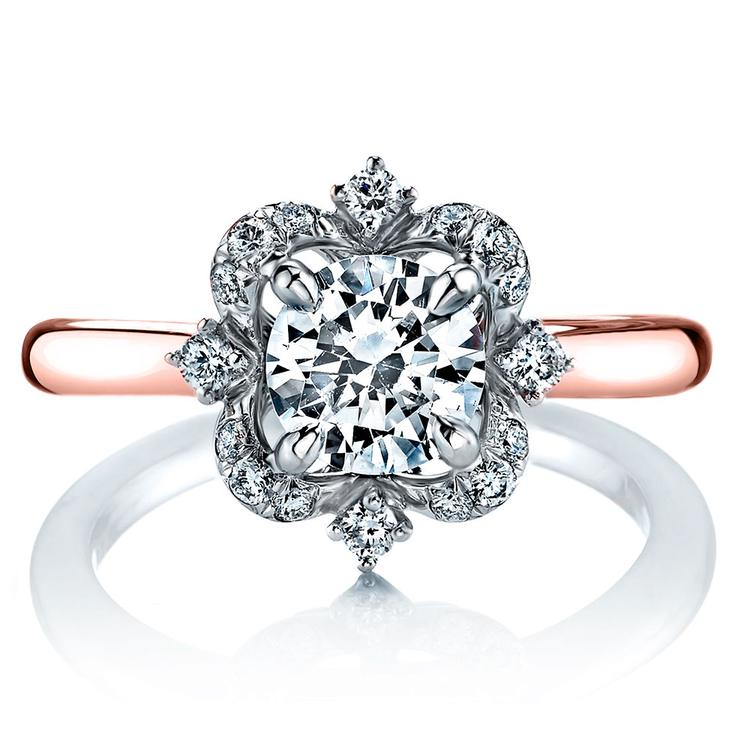 Vintage Artistic Halo Diamond Engagement Ring in White and Rose Gold by Parade   02