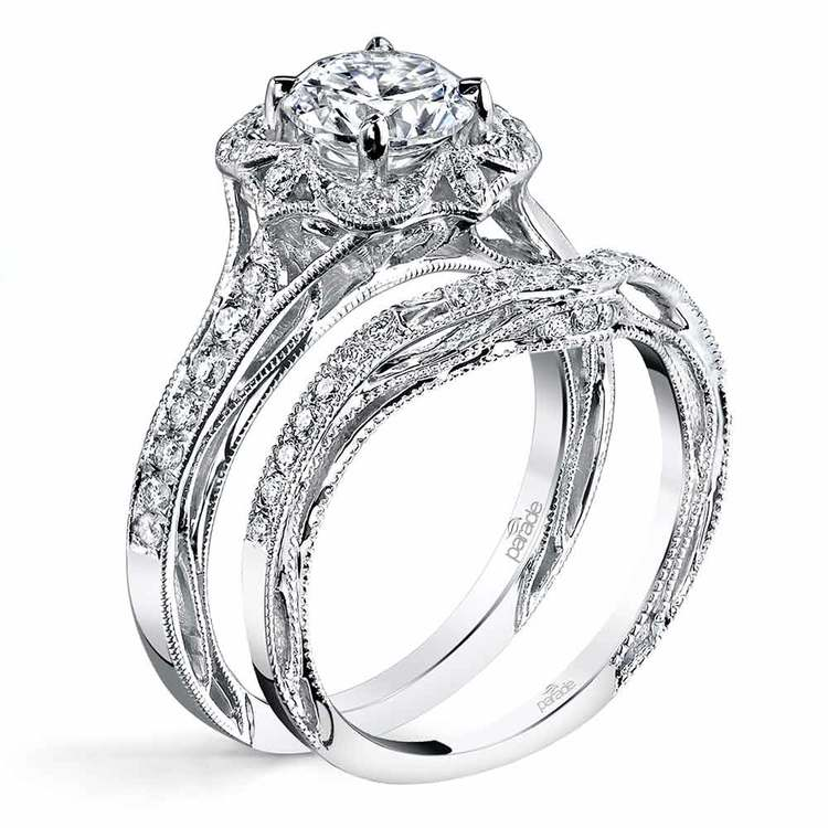 Vintage Bloom Matching Diamond Wedding Ring in White Gold by Parade | 02