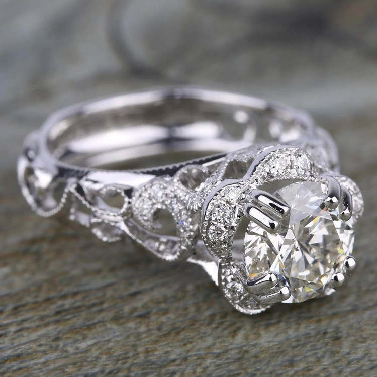 Vintage Floral Halo Diamond Engagement Ring in White Gold by Parade | 02