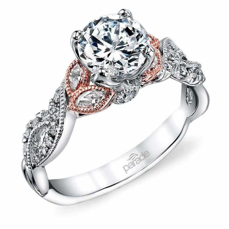Vintage Leaf and Vine Diamond Engagement Ring in White and Rose Gold by Parade | 01