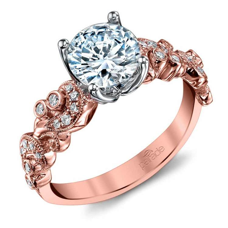 Lyria Crown Rose Gold Vintage Engagement Ring By Parade