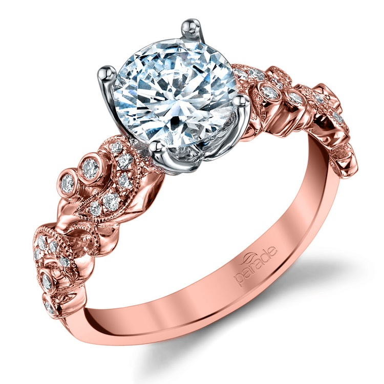 Vintage Milgrain Diamond Engagement Ring with Lyria Crown in Rose Gold by Parade | 01