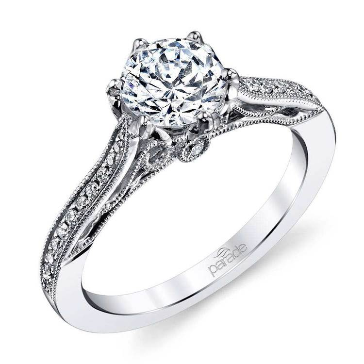 Vintage Milgrain Cathedral Diamond Engagement Ring in White Gold by Parade | 01