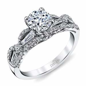 Vintage Romance Baguette Diamond Engagement Ring in White Gold by Parade