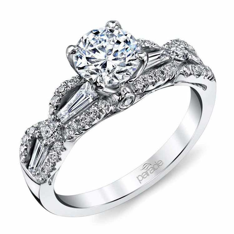 Vintage Romance Baguette Diamond Engagement Ring in White Gold by Parade | 01